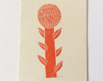 mini linocut - FLOWER // 4x6 art print // printmaking // block print // nature art // red // wildflower // original // small, miniature