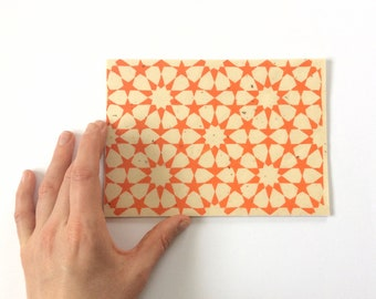 linocut - ZELLIGE // 5x7 art print // printmaking // block print // tessellation // Islamic geometric // orange // small // stars