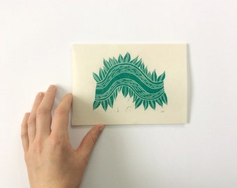 small linocut - VINE // 5x7 art print // printmaking // block print // nature art // green // forest print