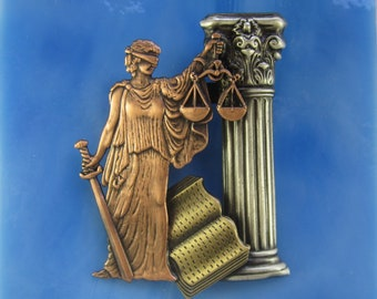 Lady Justice Brooch- Gift for Lawyers- Legal Eagle- Bar Exam Gift- Graduation Gift for Lawyers