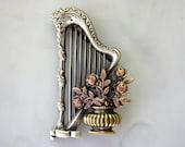 Harp Brooch- Harp Musical Instrument- Harp Jewelry- Harp Pin- Harpist Gift-