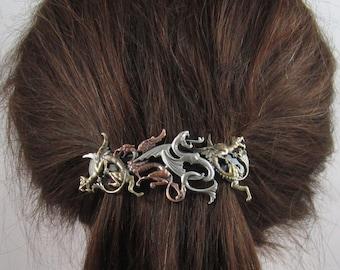 DRAGONS FRENCH BARRETTE 80mm- Thick Hair Barrette- Hair Clip-  Dragon- Game of Thrones- Hair Clips- Hair Accessories