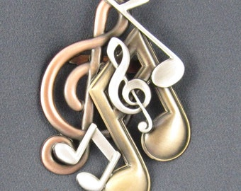 Music Brooch- Music Jewelry- G Clef- Music Note- Music Necklace