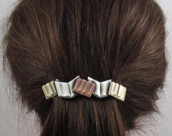 Books French Barrette 80mm- Thick Hair Barrette- Barrettes-  Book Lover Gift- Hair Accessories- Hair Clips- Teacher Gift