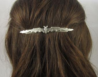Bat Barrette- French Barrette- Silver Barrette- Bat Hair Clip- Bat Accessory- Halloween Accessory