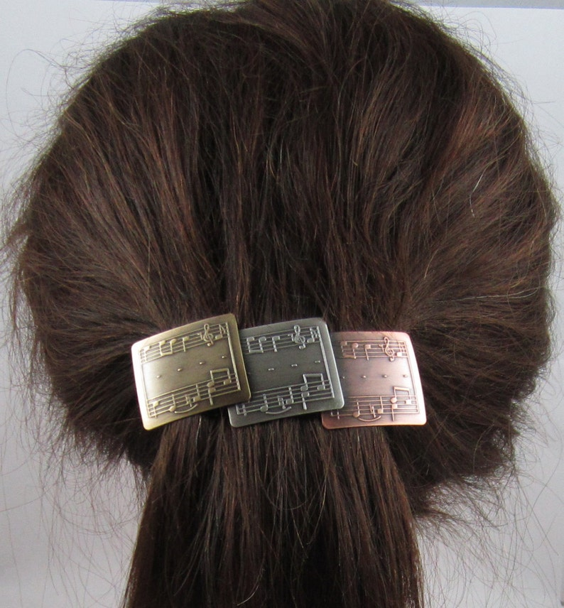Music Lovers Genuine French Barrette 80mm Brass Copper Sterling Silver Ox Thick Hair Barrette