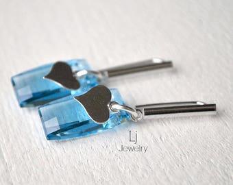 Swarovski® Crystal Earrings Aquamarine Rectangle Chessboard Drops Heart Silver Letemendia Jewelry