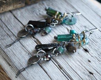 Olive Leaf Earrings Long Dangling Earrings Sterling Silver Gemstones Letemendia Jewelry Handmade Boho