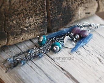 Long Chain and Gemstone Earrings Heart Charm Dangling Sterling Silver Gemstones Letemendia Jewelry Handmade Boho