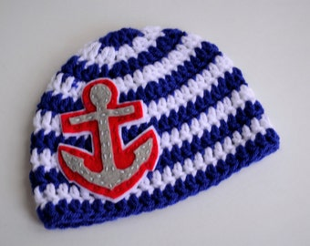 Crochet Anchor Hat, Anchor Hat, Child Sailor Hat, Crochet Nautical Hat, Child Anchor Hat, Baby Sailor Hat, Nautical Baby Hat, Sailor Hat,