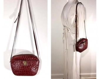 Salvatore Ferragamo Bag Brown Leather Ferragamo Crossbody Handbag Embossed Exotic Skin Designer Purse Day Bag Evening Bag