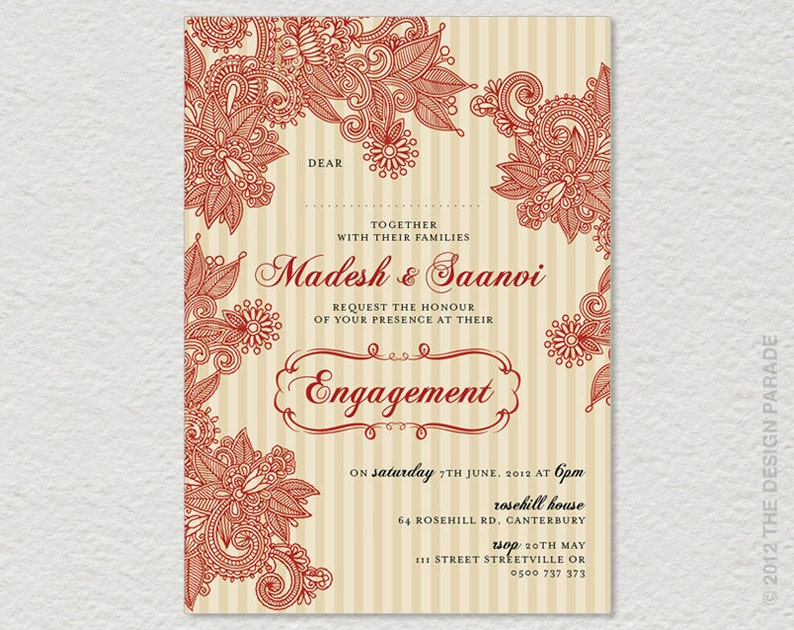 graphic regarding Printable Henna Designs identify PRINTABLE Henna layout, Indian Structure invitation for Engagement, Wedding ceremony or birthday. Henna invitation, Indian invitation.