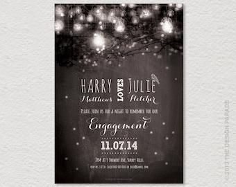 PRINTABLE Fairy Lights Engagement Invitation. String lights, Garden party.