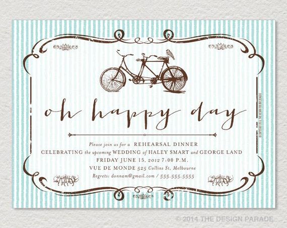 Printable Oh Happy Day Rehearsal Dinner Invitation Tandem Etsy