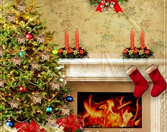 Photography Backdrop Christmas Tree Fireplace Photo