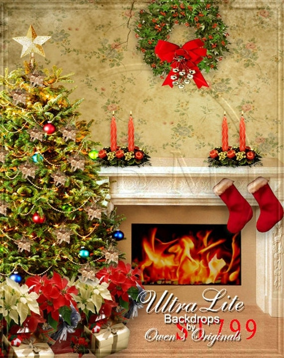 Photography Backdrop Christmas Tree And Fireplace Photo Background 5x7 Ft Ultralite Fabric Not Vinyl St799