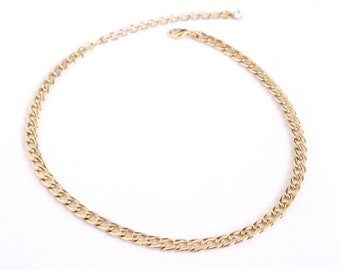Gold Link Choker Necklace with Adjustable Chain and Swarovski Crystal Detail