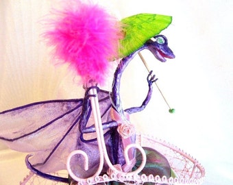 Purple Dragon with a Parasol Riding in a Pink Basket. A Unique Fantasy Art Doll