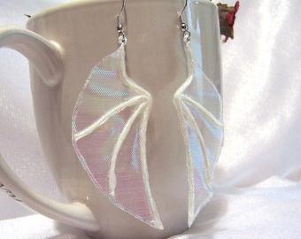 White Iridescent Fairy Wings. Unique Fantasy Dangle Earrings. U1005