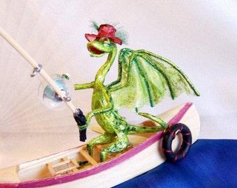 Green Dragon Fisherman in a Canoe Is Going Fly Fishing. OOAK Fantasy Art Doll