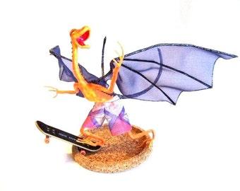 Skateboard Dragon Riding the Concrete Wave. Unique Fantasy Art Doll