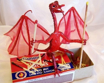 Red Dragon Firebug is Playing with Matches. Unique Fantasy Art Doll