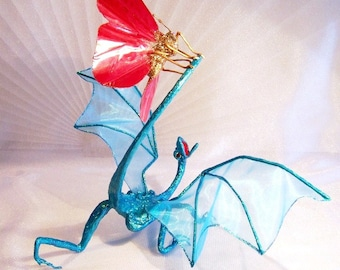Turquoise Dragon Attacked by a Red Butterfly. A Unique Fantasy Art Doll