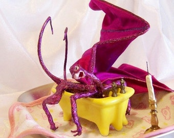 Fuchsia Dragon taking a bath. Bathtub Bliss Fantasy Art Doll