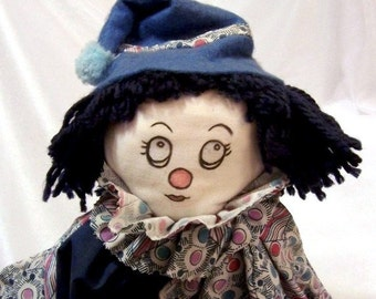 Sweet Vintage Clown Doll in a Blue Outfit. Handmade by my Mom in the 1980s.