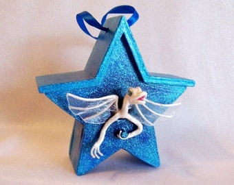 White Dragon Baby in a Turquoise Star Birdhouse. Unique Fantasy Miniature Art Doll