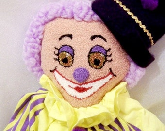 Vintage Clown in Purple and Yellow with Punch Embroidered Face. Handmade by my Mom and Dad - S1005