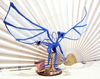 Lucky Blue Dragon Sports Fanatic on a Bar Stool. Unique Fantasy Art Doll