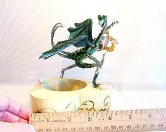 Green Baby Dragon Starting a Hoard. Unique Fantasy Art Doll by MagicSeeker