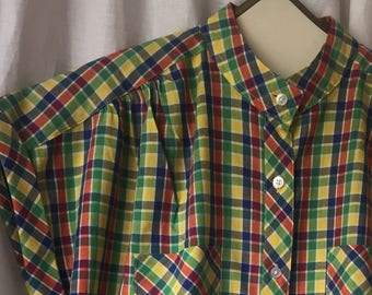 ALICIA PLAID BLOUSE vintage 80's short sleeved cotton/poly yELLOW gREEN nAVY rED Size 10