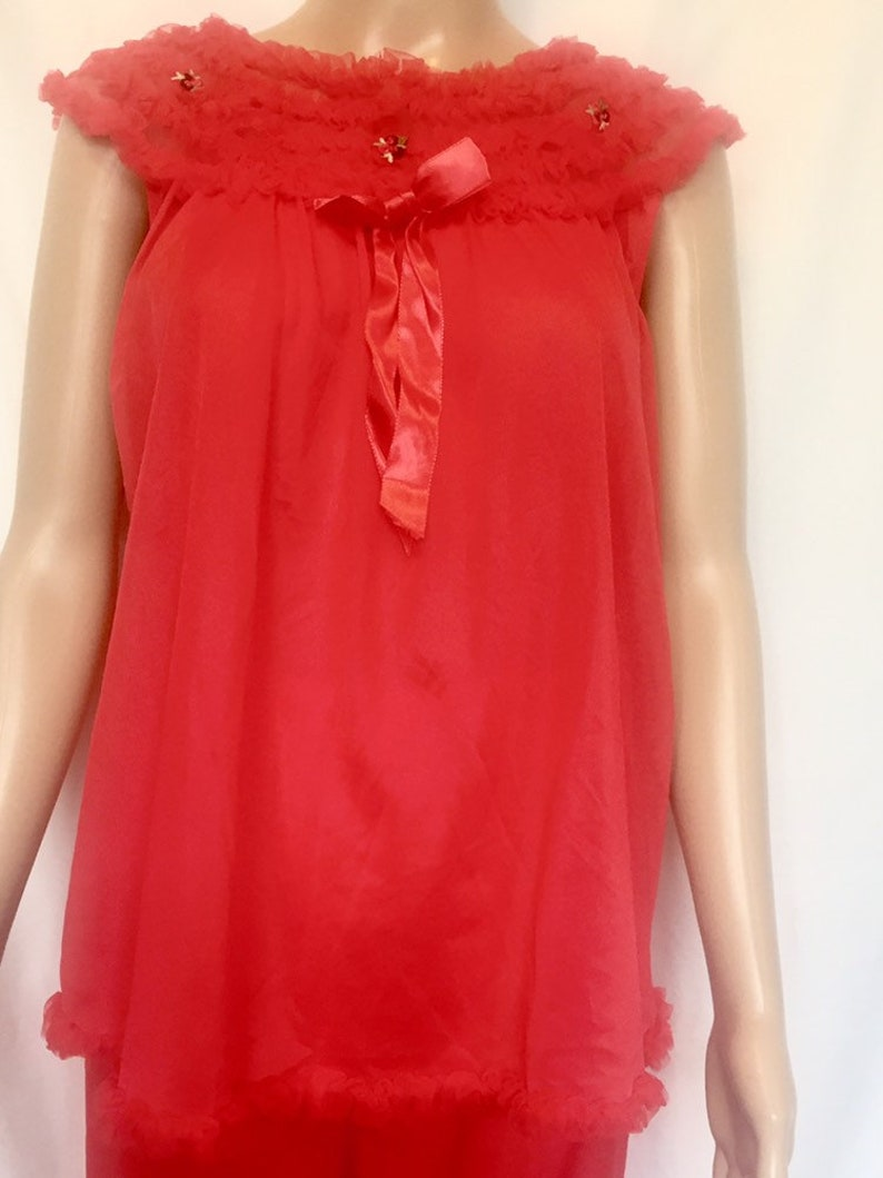 Vintage 1950/'S CHIC LINGERIE lipstick red nylon PAJAMAS Size Medium