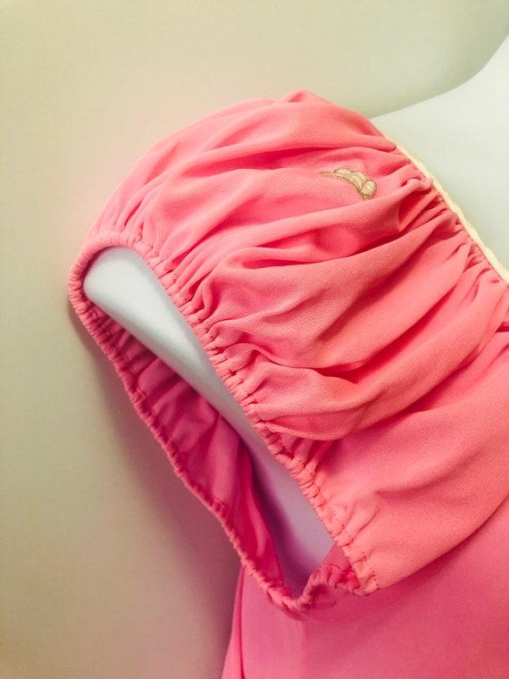 Vintage 1970s LUCIE ANN Nightgown Bubble Gum Pink… - image 4