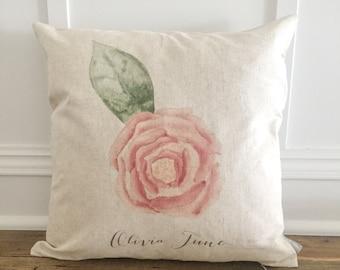 Custom watercolor Rose pillow cover