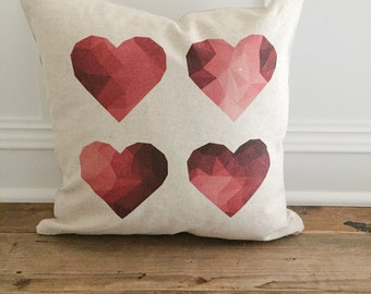 Geometric Hearts Pillow Cover