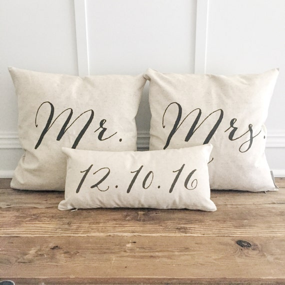 New Font Mr Mrs Pillow Cover Set With Custom Date Lumbar Etsy