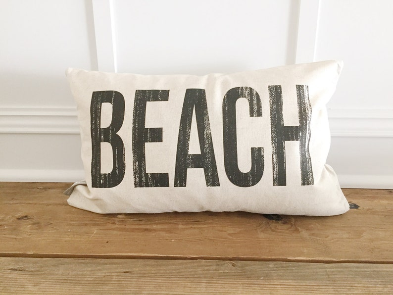 Distressed BEACH Pillow Cover image 0