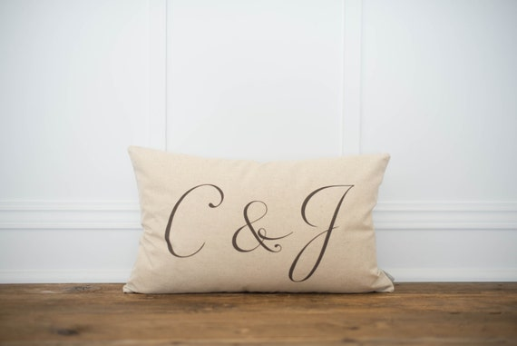 Monogrammed Lumbar Pillow Cover | Etsy