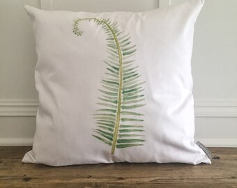 Fern Watercolor Pillow Cover