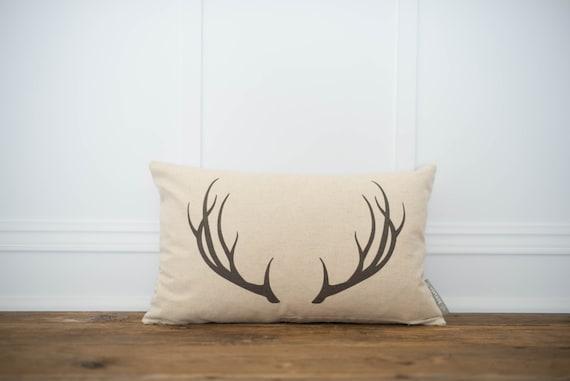 Deer ANTLERS Pillow Lumbar Burlap or