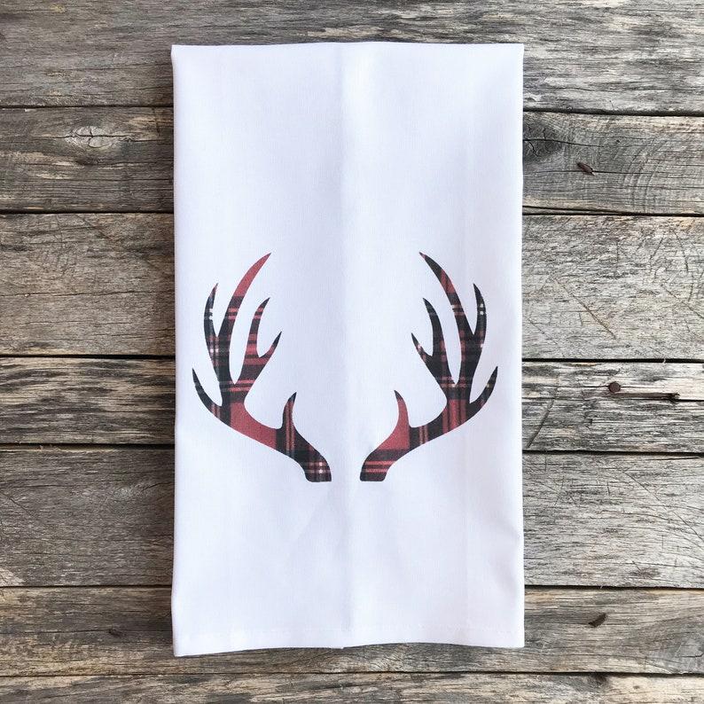 Tartan Plaid Antlers Tea Towel