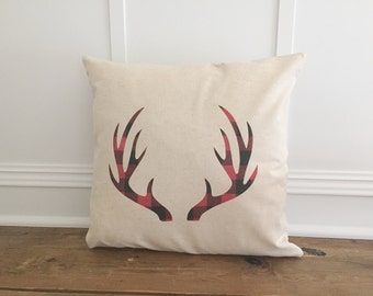 Buffalo Plaid PIllow- Antlers (Red & Black)