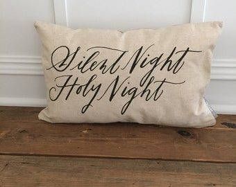 Calligraphy Silent Night Pillow Cover