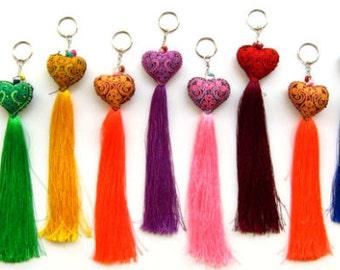 10pcs+ Tassel Heart Bag Charm Long Tassel Zipper Pull Wholesale Handmade Items, Unique Original Gifts, Best Friend Gift, Assorted Colors