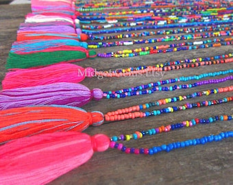 Wholesale Tassel Necklace Seed Bead Necklace  Long Tassel Necklace Tiny Bead Necklace Dainty Bead Necklace Tiny Beaded Jewelry 10 pcs