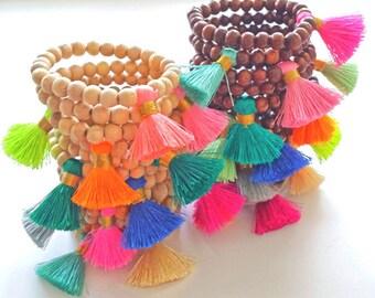 BOHO Tassel Bracelets, Mala Bracelet Mini Tassel Boho Bracelet,Arm Candy Bracelet, Layering Bracelet Stack bracelet Gift Wholesale