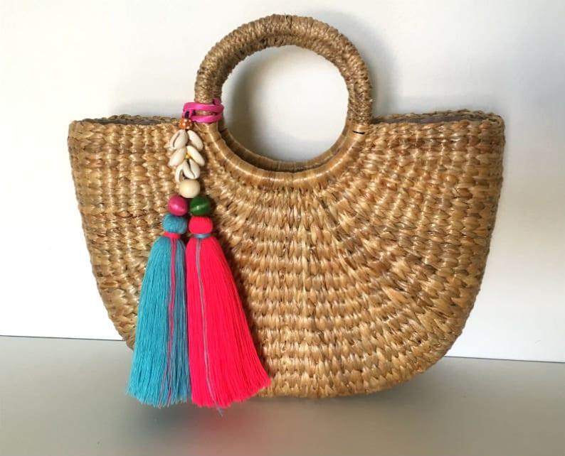 Tassels for handbags Straw bag tassel charm Tassel Beach bag  a29ddae53946c